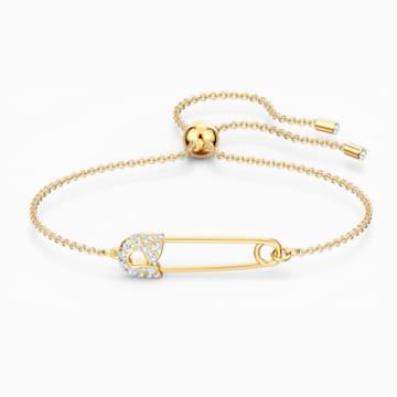 So Cool Pin Bracelet, White, Gold-tone plated - Swarovski, 5512739