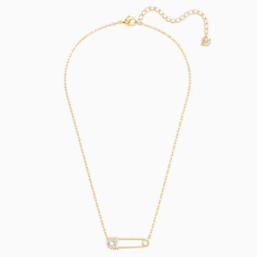 So Cool Pin 项链, 白色, 镀金色调 - Swarovski, 5512760
