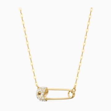 Collar So Cool Pin, blanco, baño tono oro - Swarovski, 5512760