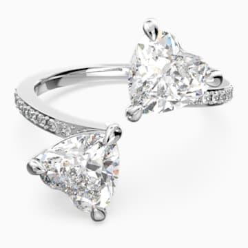 Bague Attract Soul Heart, blanc, métal rhodié - Swarovski, 5512854