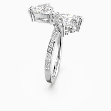 Attract Soul Heart Ring, White, Rhodium plated - Swarovski, 5512854