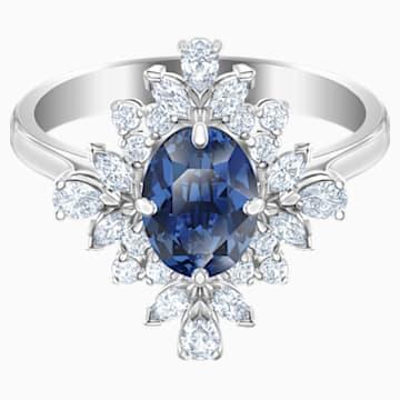 Palace 圖形戒指, 藍色, 鍍白金色 - Swarovski, 5513216