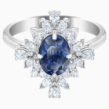 Palace 圖形戒指, 藍色, 鍍白金色 - Swarovski, 5513221