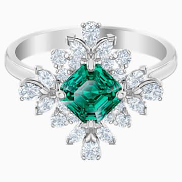 Palace Motif Ring, Green, Rhodium plated - Swarovski, 5513223
