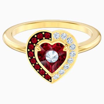 Black Baroque Motif Ring, Red, Gold-tone plated - Swarovski, 5513246
