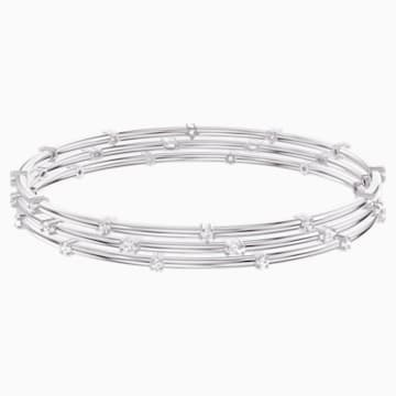 Moonsun Bangle Set, White, Rhodium plated - Swarovski, 5513979