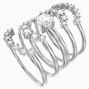 Moonsun Ring Set, White, Rhodium plated - Swarovski, 5513983