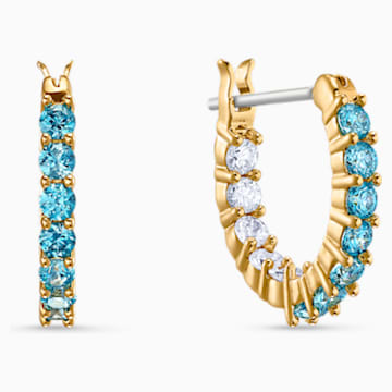 Vittore 穿孔耳环, 海蓝色, 镀金色调 - Swarovski, 5514357