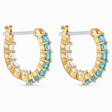 Vittore 穿孔耳環, 海藍色, 鍍金色色調 - Swarovski, 5514357