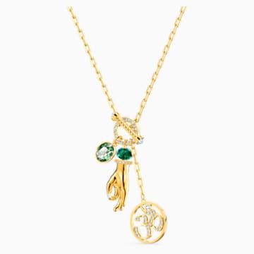 Colgante Swarovski Symbolic Hand Om, verde, baño tono oro - Swarovski, 5514407