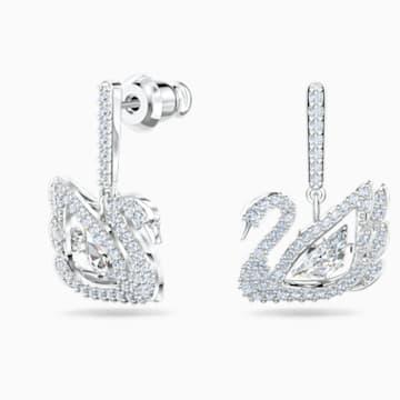 Pendientes Dancing Swan, blanco, baño de rodio - Swarovski, 5514420