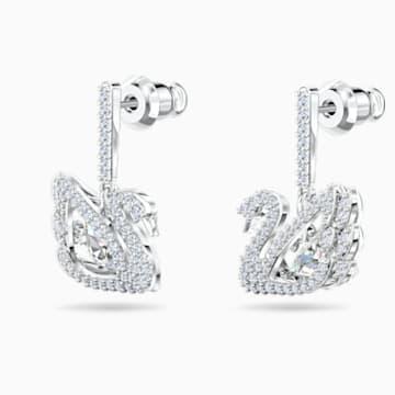Boucles d'oreilles Dancing Swan, blanc, métal rhodié - Swarovski, 5514420