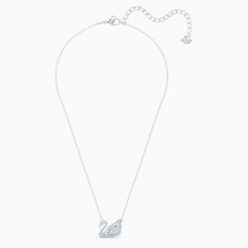 Dancing Swan Necklace, White, Rhodium plated - Swarovski, 5514421