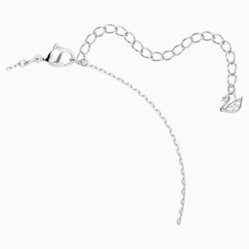Dancing Swan 項鏈, 白色, 鍍白金色 - Swarovski, 5514421