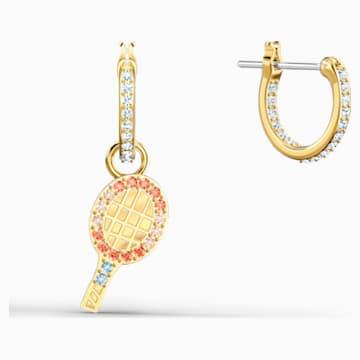 Line Friends Tennis 穿孔耳環, 淺色漸變, 鍍金色色調 - Swarovski, 5514433