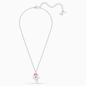 Line Friends Healthy Necklace, Light multi-colored, Rhodium plated - Swarovski, 5514434