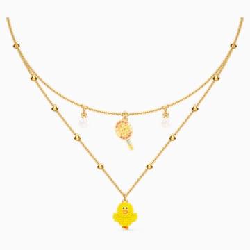 Collar en capas Line Friends Tennis, colores claros, baño tono oro - Swarovski, 5514436