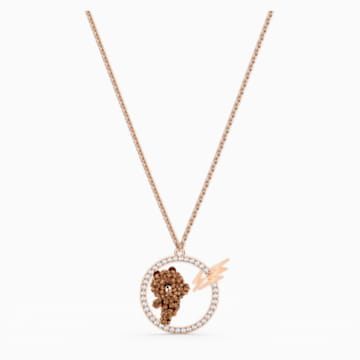 Line Friends Skateboard Pendant, Brown, Rose-gold tone plated - Swarovski, 5514437