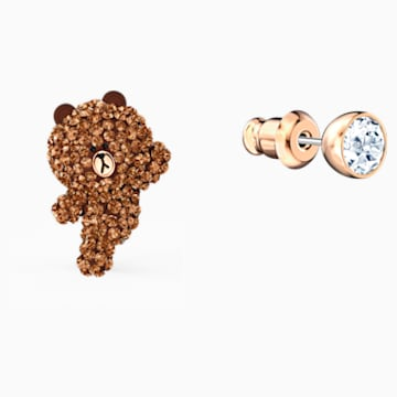 Line Friends Skateboard Pierced Earrings, Brown, Rose-gold tone plated - Swarovski, 5514438