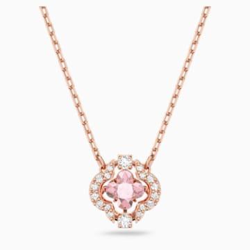 Swarovski Sparkling Dance Clover 項鏈, 粉紅色, 鍍玫瑰金色調 - Swarovski, 5514488