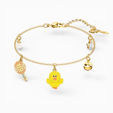 Line Friends Tennis Bracelet, Light multi-colored, Gold-tone plated - Swarovski, 5514516