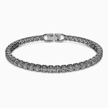Tennis Deluxe 手鏈, 灰色, 鍍黑鉻色 - Swarovski, 5514655