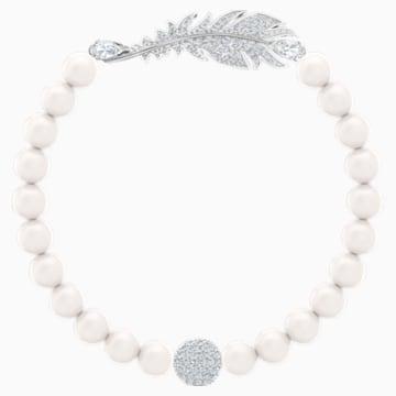 Pulsera Nice Pearl, blanco, Baño de Rodio - Swarovski, 5515020