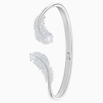 Bracelet-jonc Nice, blanc, Métal rhodié - Swarovski, 5515032