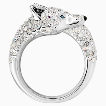 Polar Bestiary Wolf Cocktail Ring, Multi-colored, Rhodium plated - Swarovski, 5515094