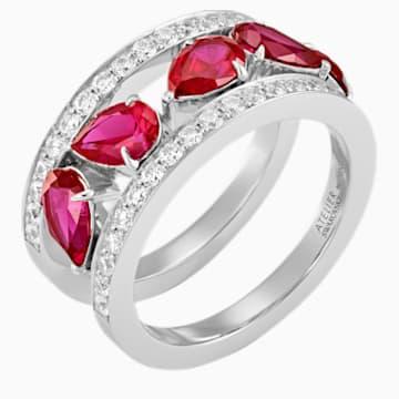Lola Wide Band Ring, Swarovski Created Rubies, 18K White Gold, Size 58 - Swarovski, 5515122