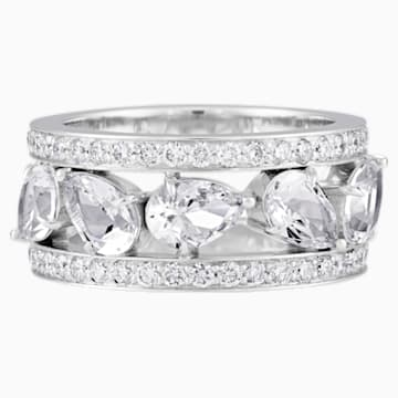 Lola Wide Band Ring, Swarovski Created Diamonds, 18K White Gold, Size 55 - Swarovski, 5515130
