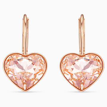 Bella Heart 穿孔耳環, 粉紅色, 鍍玫瑰金色調 - Swarovski, 5515192