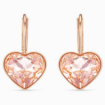 Boucles d'oreilles Bella Heart, rose, métal doré rose - Swarovski, 5515192