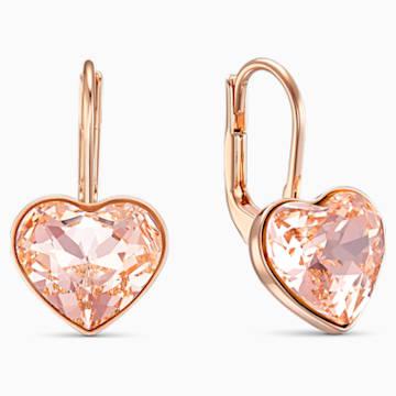 Bella Heart-steekoorbellen, Roze, Roségoudkleurige toplaag - Swarovski, 5515192