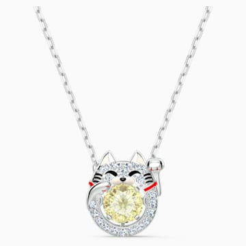 Swarovski Sparkling Dance Cat Necklace, Light multi-coloured, Rhodium plated - Swarovski, 5515438