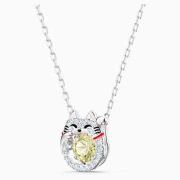 Swarovski Sparkling Dance Cat 项链, 浅色渐变, 镀铑 - Swarovski, 5515438