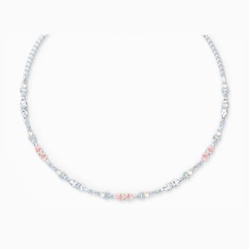 Perfection Chaton 項鏈, 粉紅色, 鍍白金色 - Swarovski, 5515514