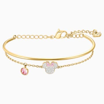 Mickey & Minnie Bangle, White, Gold-tone plated - Swarovski, 5515627