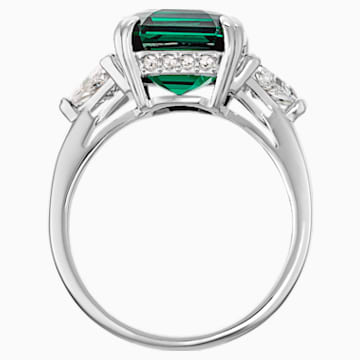 Attract Cocktail Ring, Green, Rhodium plated - Swarovski, 5515712