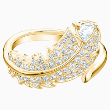 Prsten s motivem Nice, Bílý, Pozlacený - Swarovski, 5515755