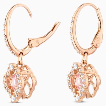 Náušnice Swarovski Sparkling Dance Clover, růžové, pozlacené růžovým zlatem - Swarovski, 5516477