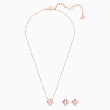 Swarovski Sparkling Dance Clover 套装, 粉红色, 镀玫瑰金色调 - Swarovski, 5516488