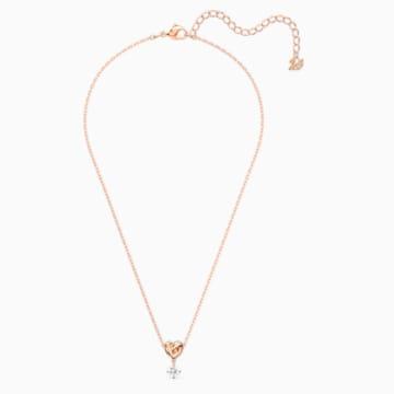 Lifelong Heart Pendant, White, Rose-gold tone plated - Swarovski, 5516542
