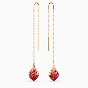 Fun 穿孔耳环, 红色, 镀金色调 - Swarovski, 5516585