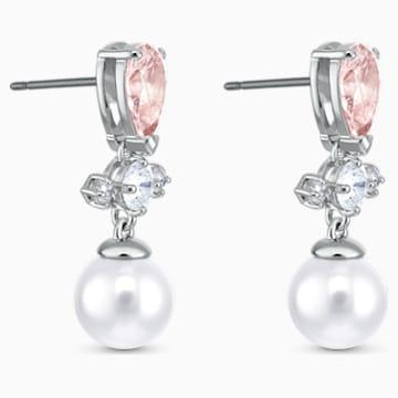 Perfection bedugós fülbevaló, rózsaszín, ródium bevonattal - Swarovski, 5516592