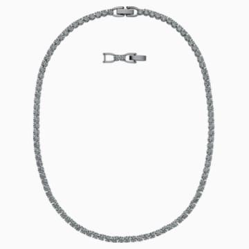 Tennis Deluxe Necklace, Black, Ruthenium plated - Swarovski, 5517113