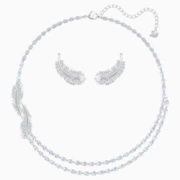 Conjunto Nice, blanco, Baño de Rodio - Swarovski, 5517161