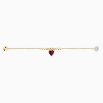 Strand Swarovski Remix Collection Heart, rojo, baño tono oro - Swarovski, 5517641