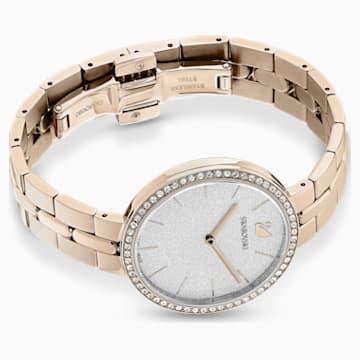 Cosmopolitan Watch, Metal bracelet, White, Champagne-gold tone PVD - Swarovski, 5517794