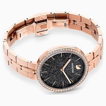 Cosmopolitan-horloge, Metalen armband, Zwart, Roségoudkleurig PVD - Swarovski, 5517797